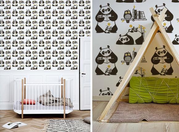 Papeles pintados para habitaciones bebés sobre el tema panda por E-Glue