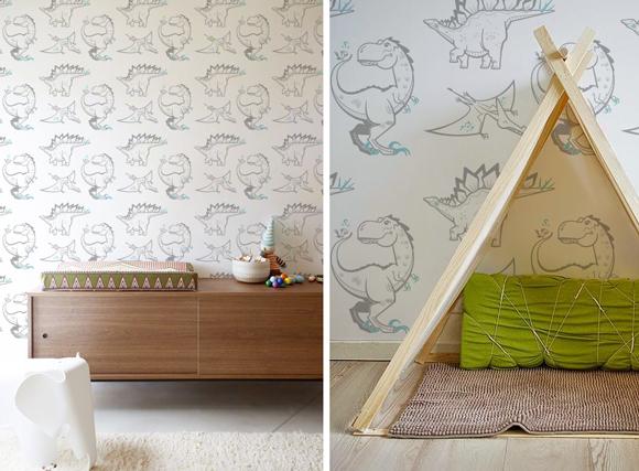 Papeles pintados para habitaciones infantiles sobre el tema dinosaurios y jurassic world por E-Glue