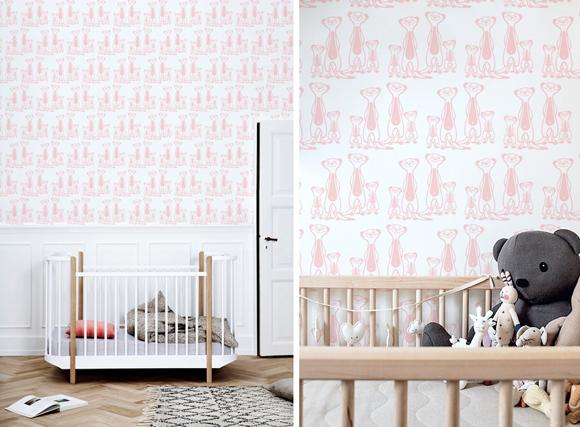 Papeles pintados para habitaciones bebés sobre el tema selva por E-Glue