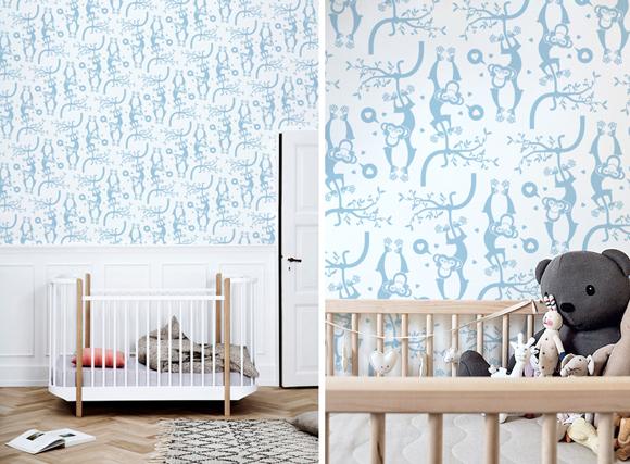 Papeles pintados para habitaciones bebés sobre el tema safari o jungla por E-Glue
