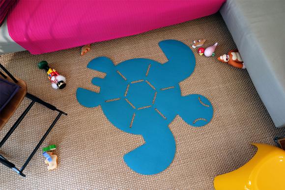 Alfombra tortuga de fieltro para habitación bebé por E-Glue