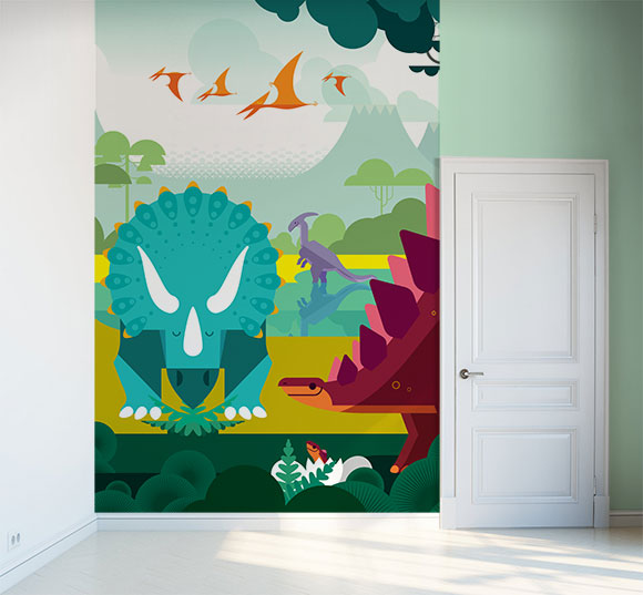 Papel Pintado Fotomural Mundo Jurasico y dinosaurios para habitaciones infantiles por E-Glue