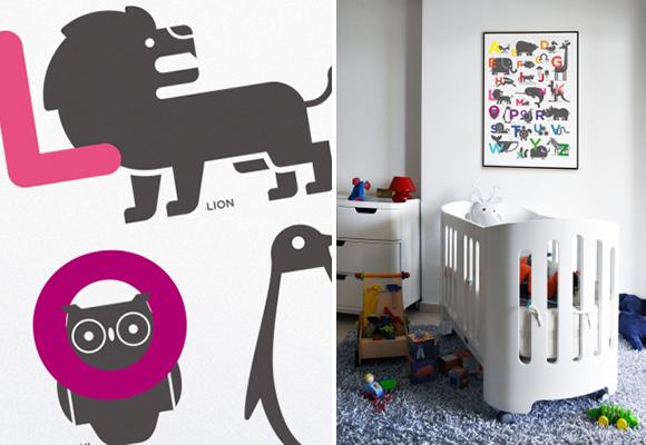 Laminas, Poster ABC alfabeto para habitacion infantil tema selva o jungla por E-Glue diseño