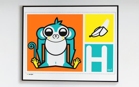 Affiche, Poster Singe pour chambre enfants theme savane ou jungle par E-Glue design