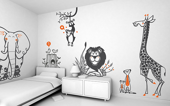 Stickers chambre bébé savane, Stickers Girafe, Stickers Elephant, Stickers Lion, Stickers Singe par E-Glue design.