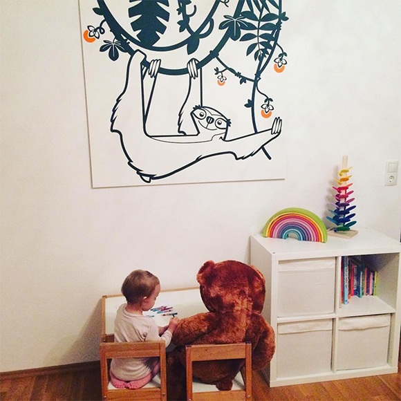Sloth wall stickers for kids room