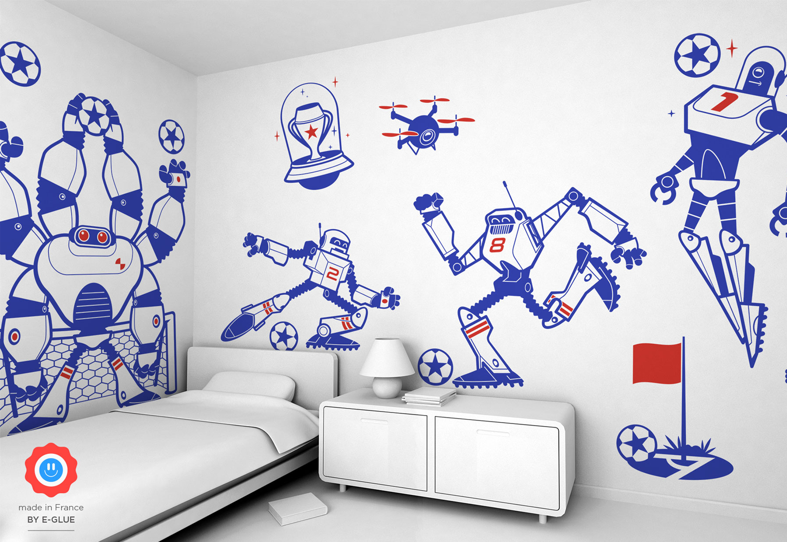stickers enfants football et robots