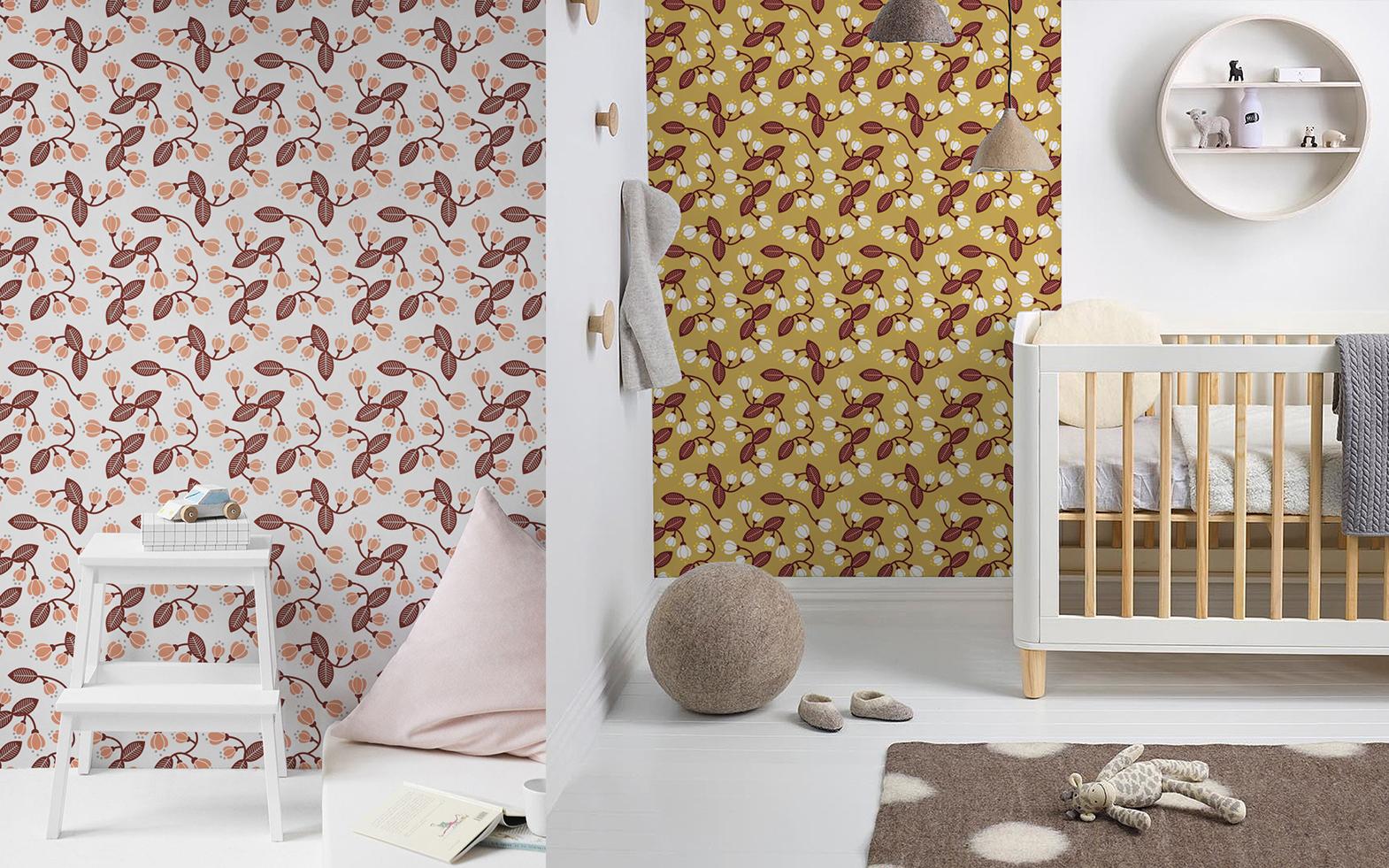 papier peint fleurs cerisier du japon pour chambre fille par E-Glue design