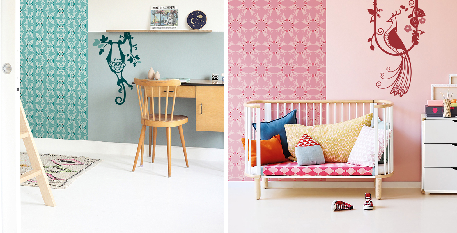 matching baby wall decals with wallpaper for decorating a kids room