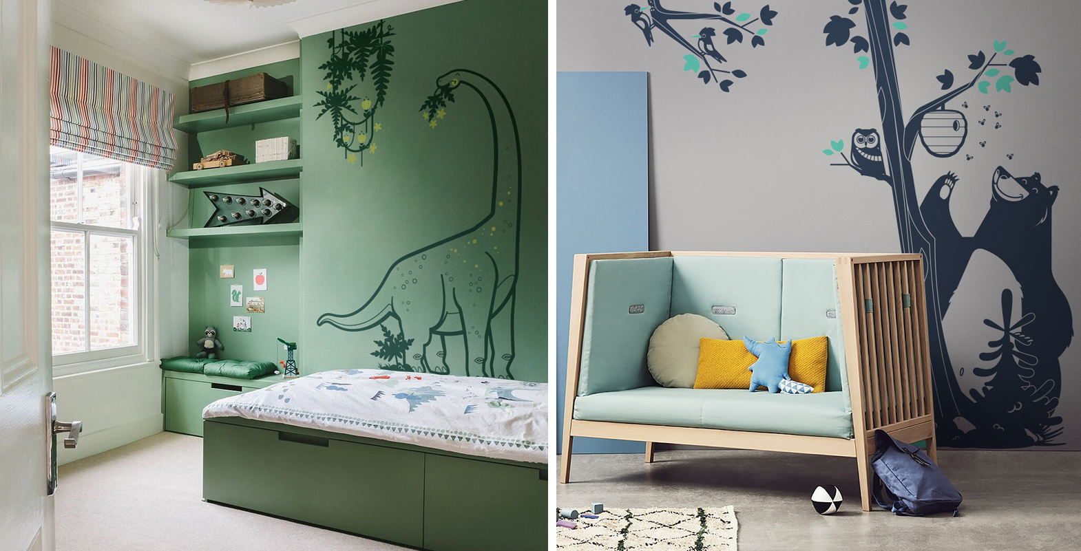 kids wall stickers and matching paint for children's bedroom decor