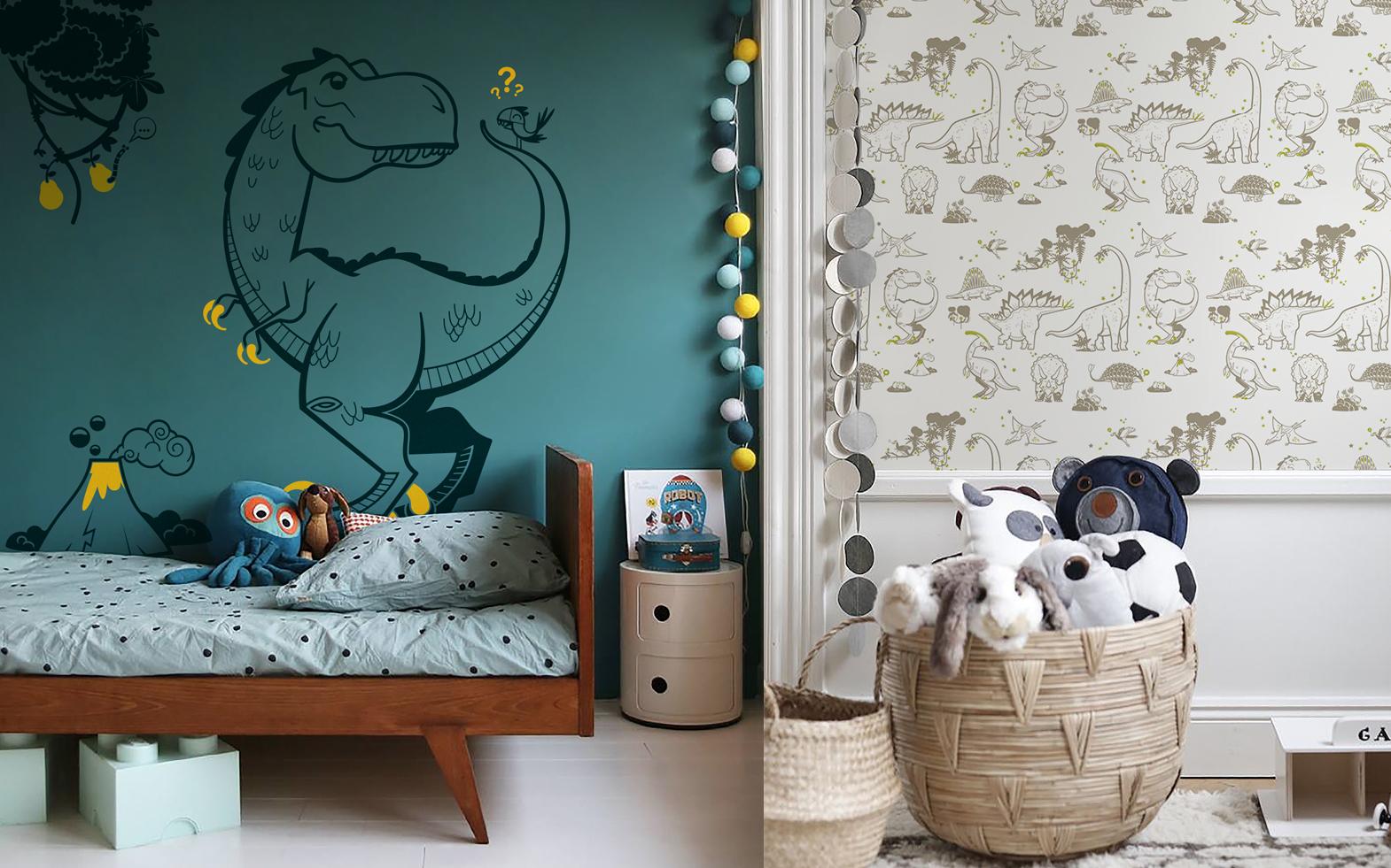 stickers T-Rex et papier peint dinosaure par E-Glue design