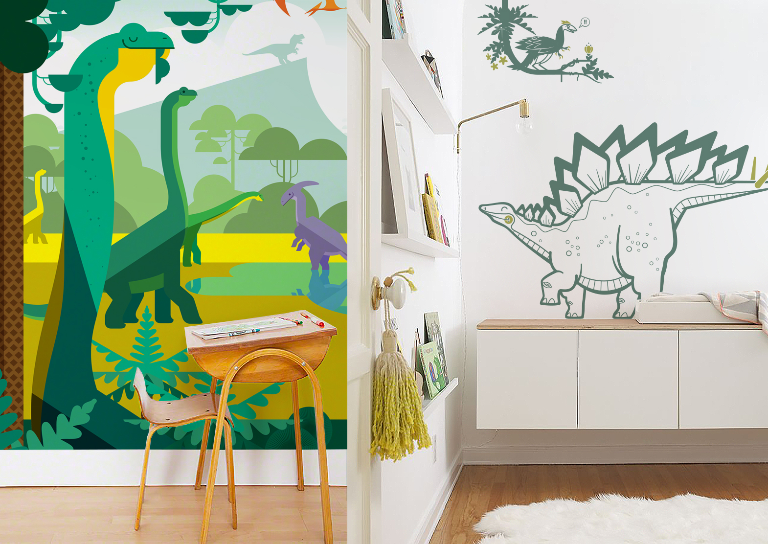 Jurassic World kids wall mural XXL and pack of dinosaur wall decals by E-Glue design