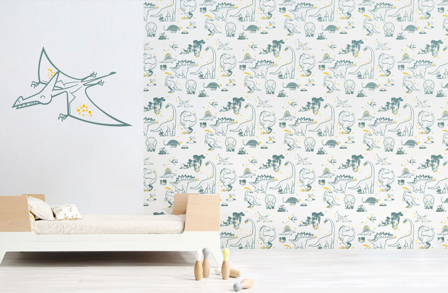 Pterodactyl wall decal and dinosaur wallpaper combination by E-Glue design