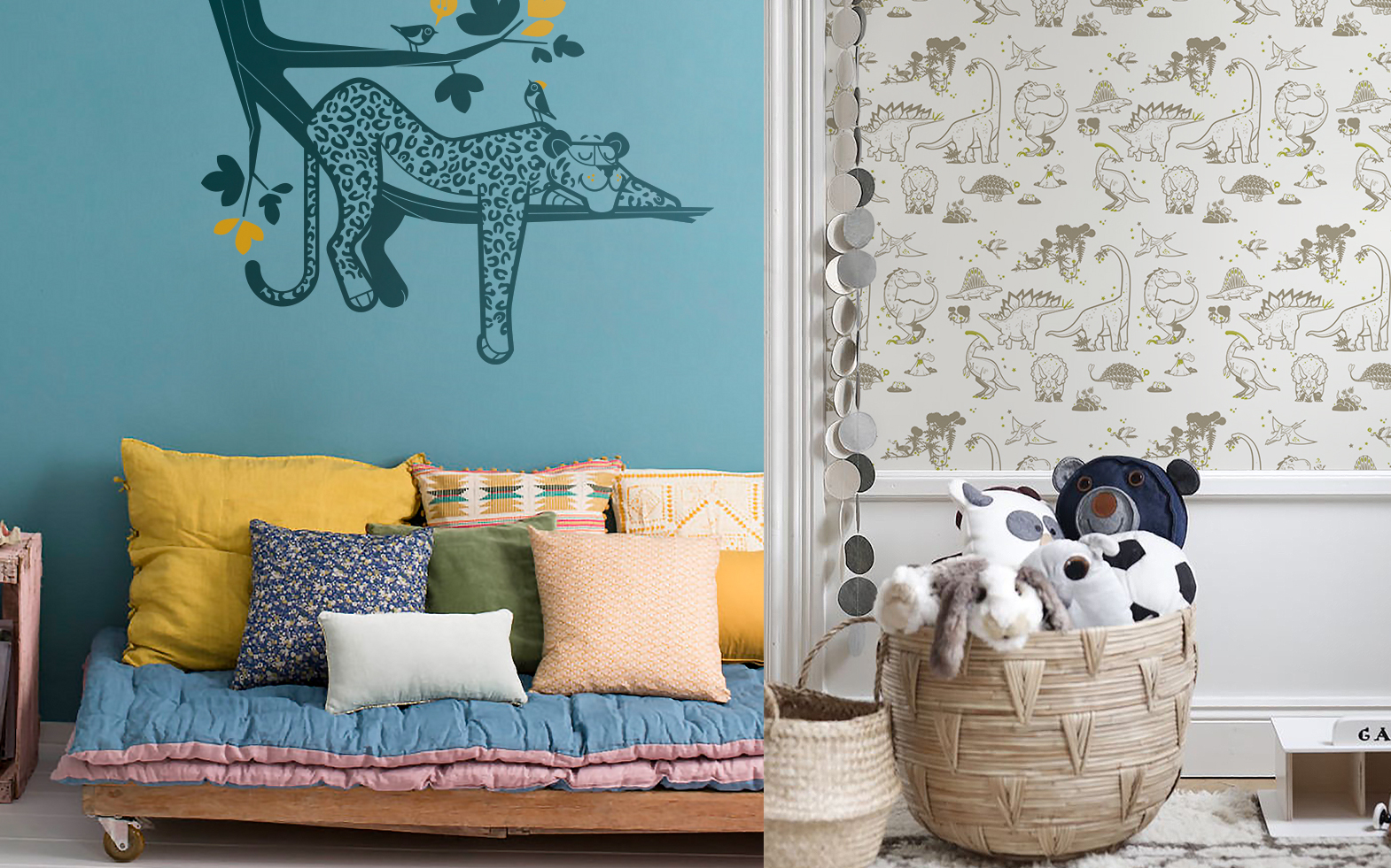 Leopard wall stickers and dinosaur wallpaper by E-Glue design