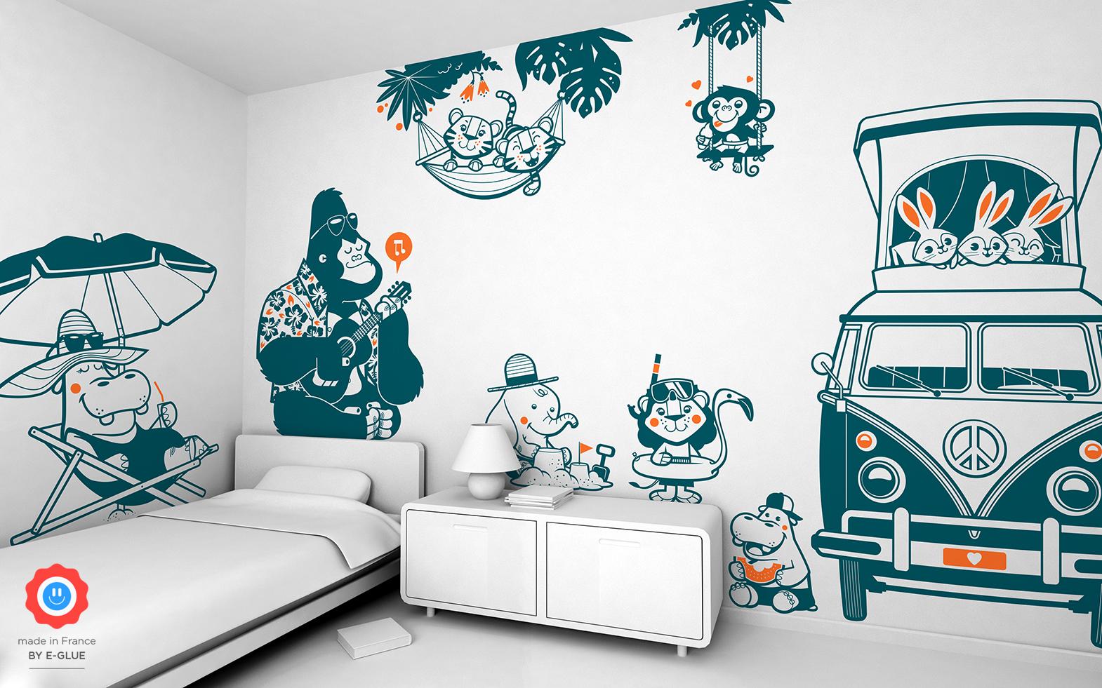 stickers bébé animaux pour chambre enfant
