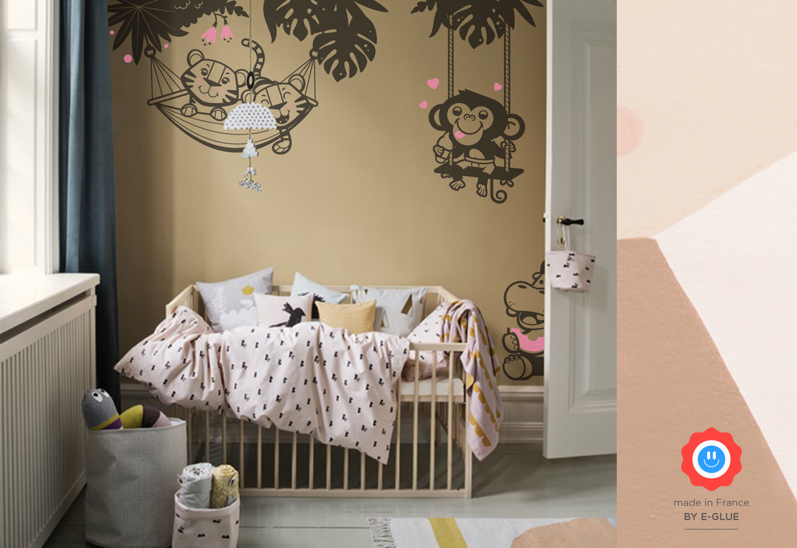 baby animal wall stickers for kids room