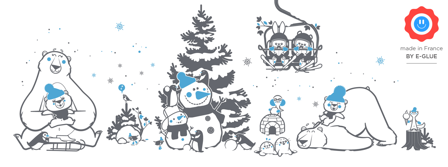 stickers animaux banquise - décoration murale chambre enfant par E-Glue Design
