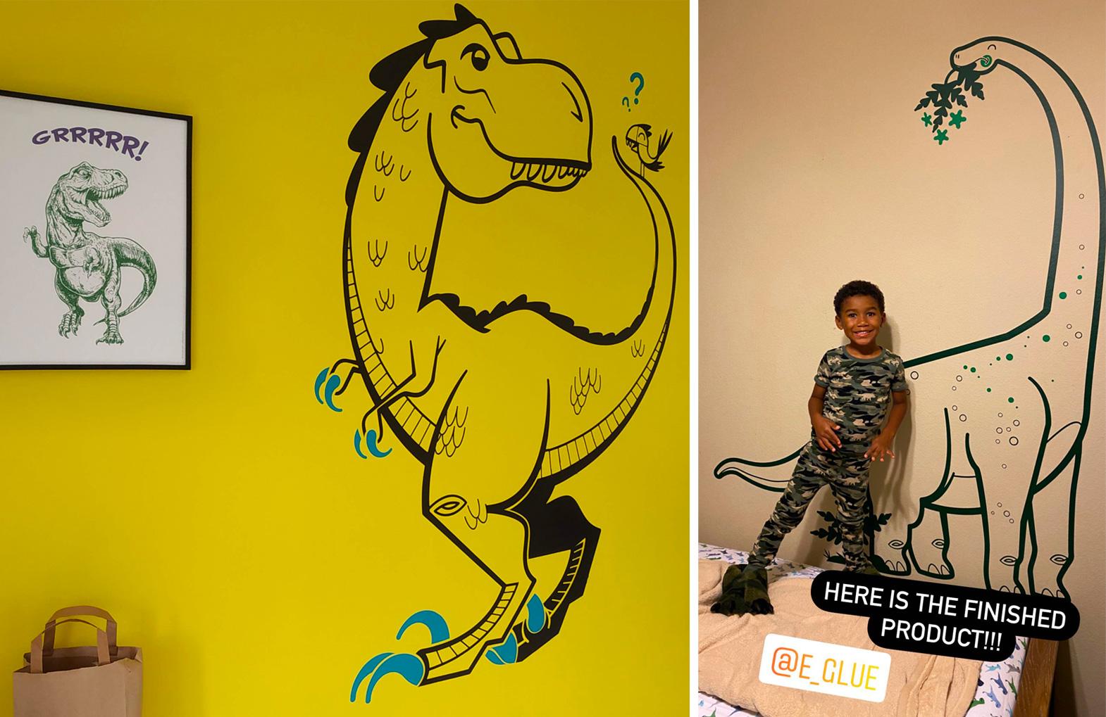 vinilos infantiles dinosaurio por E-Glue Design