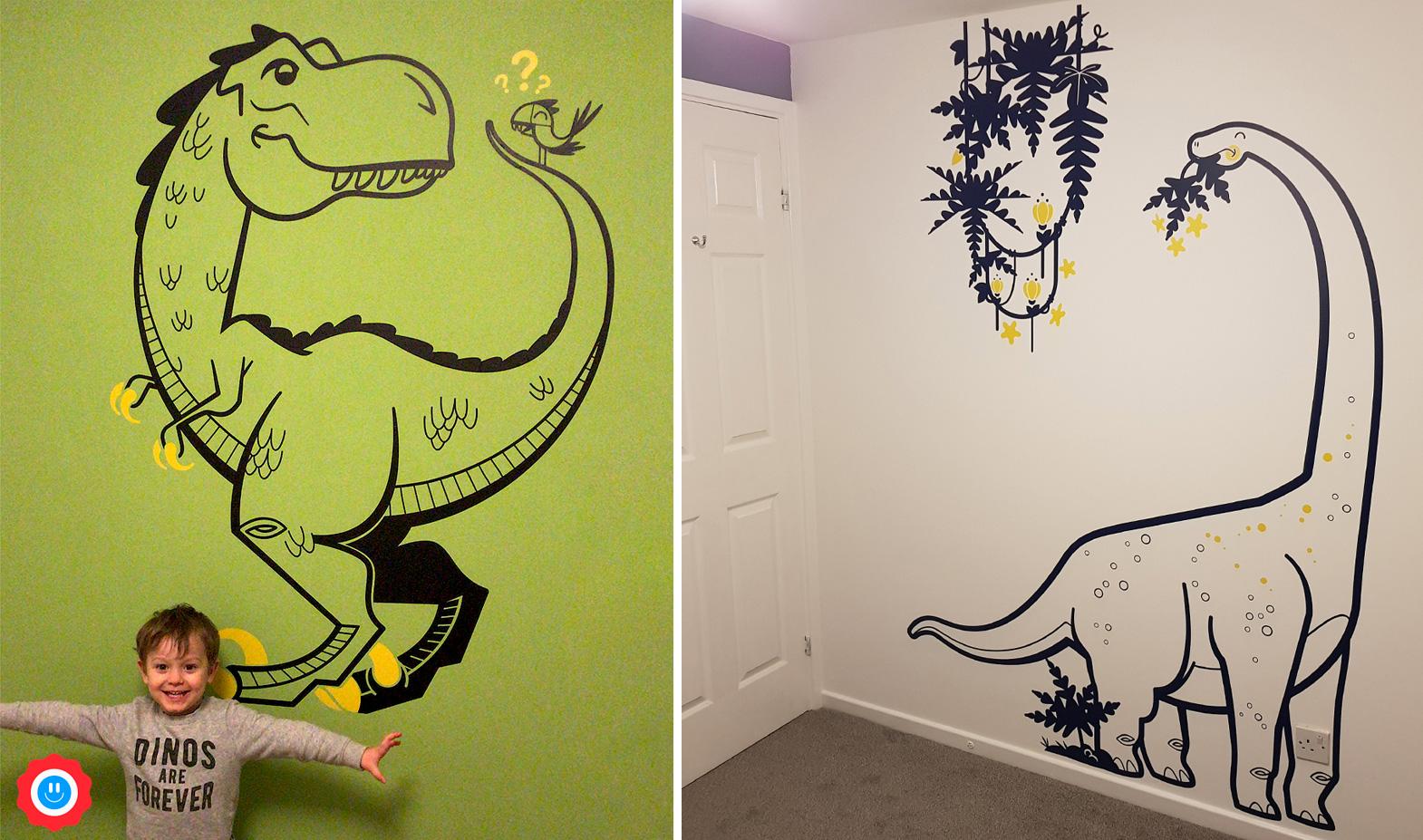 stickers dinosaure pour chambre enfant par E-Glue Design