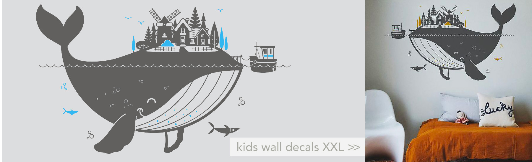 whale wall decals XXL for kids room or baby nursery