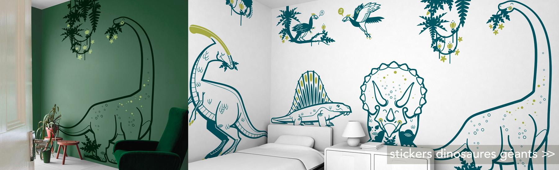 stickers dinosaures géants XXL, décoration murale chambre enfant