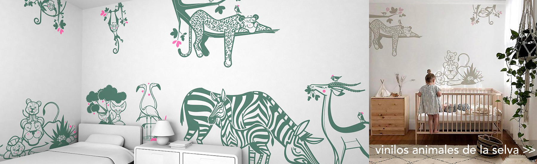 vinilos decorativos animales de la selva, jungla, para habitación infantil bebé