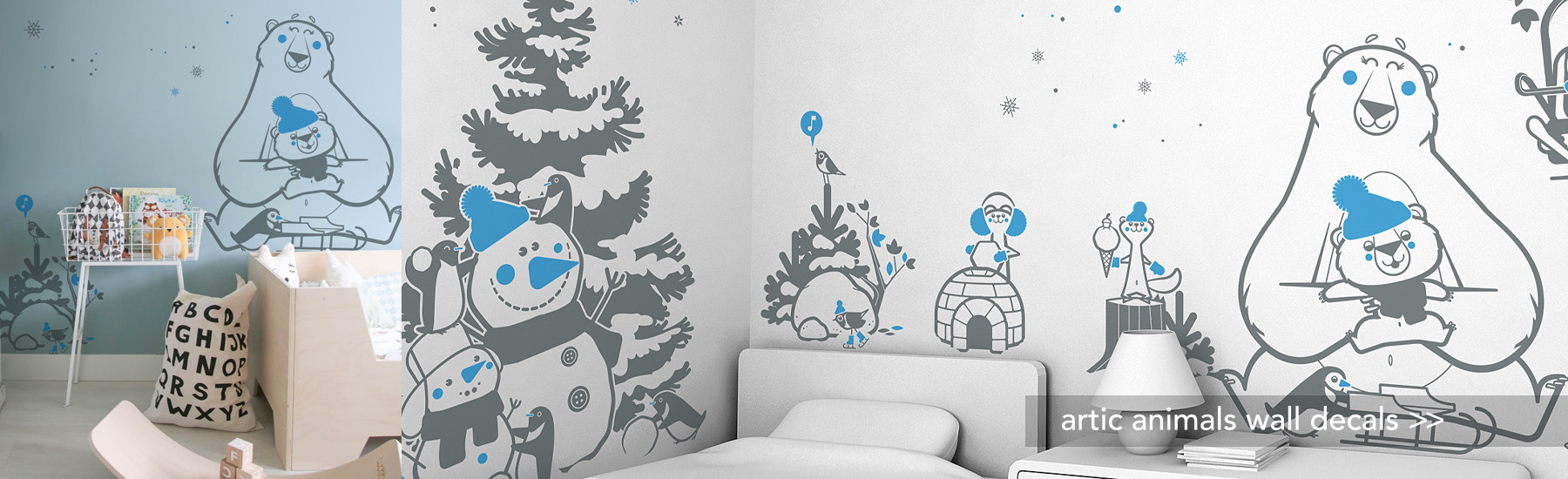 ARCTIC ANIMALS WALL DECALS FOR KIDS ROOM