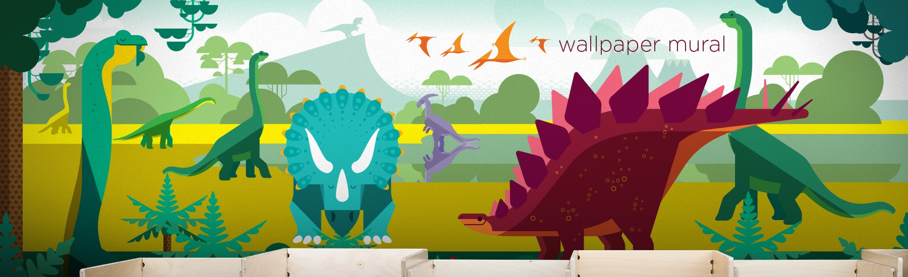 dinosaur wallpaper mural, dinosaur poster XXL for kids room by E-Glue Design