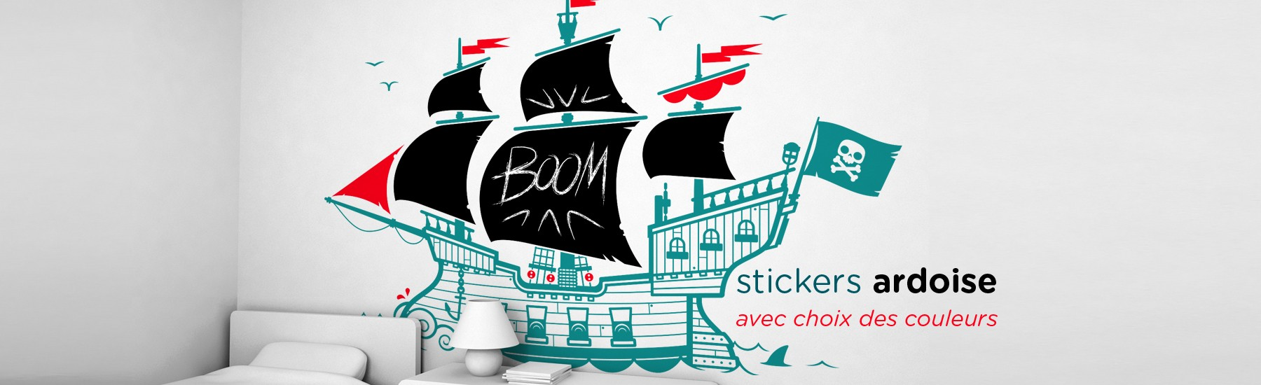 stickers enfant ardoise Bateau Pirate par E-Glue Design