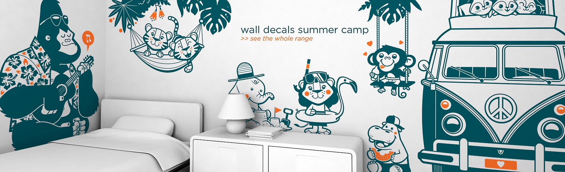 animal wall decals summer camp