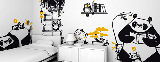 stickers enfants panda