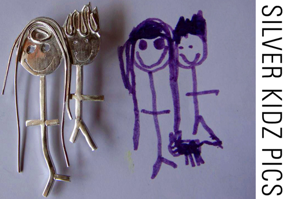 SILVER KIDZ PICS // children drawings turned into silver brooches