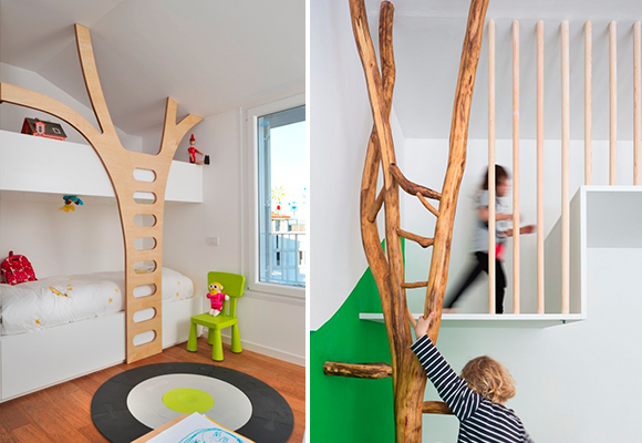 a tree in a children's bedroom