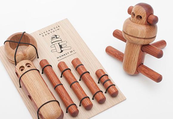 wooden monkey 3D puzzle kids toy