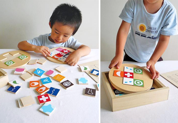 Colorito, wooden face combination toy for kids made in japan by Atelier Mapa