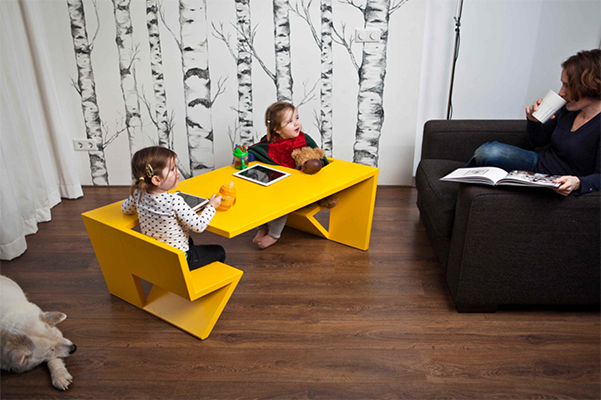 unfold table pour enfants avec double assises now for kids by e glue. Black Bedroom Furniture Sets. Home Design Ideas