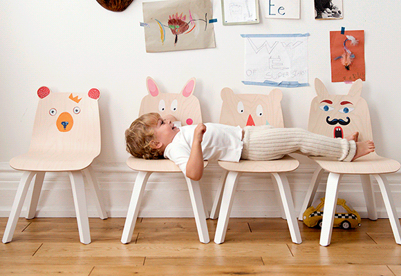 Play collection, bunny & bear-eared wooden kids chairs, by Oeuf