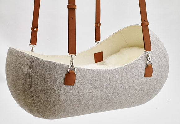 felt and leather baby hanging cradle Little Nest by Oszkar Vagi
